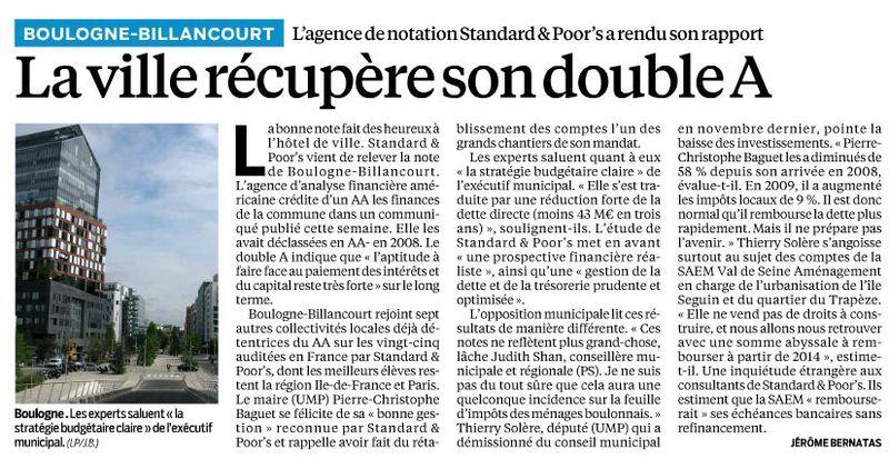 130201 Le Parisien - La ville récupère son double A