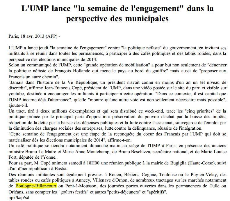 130419 L'UMP lance la semaine de l'engagement