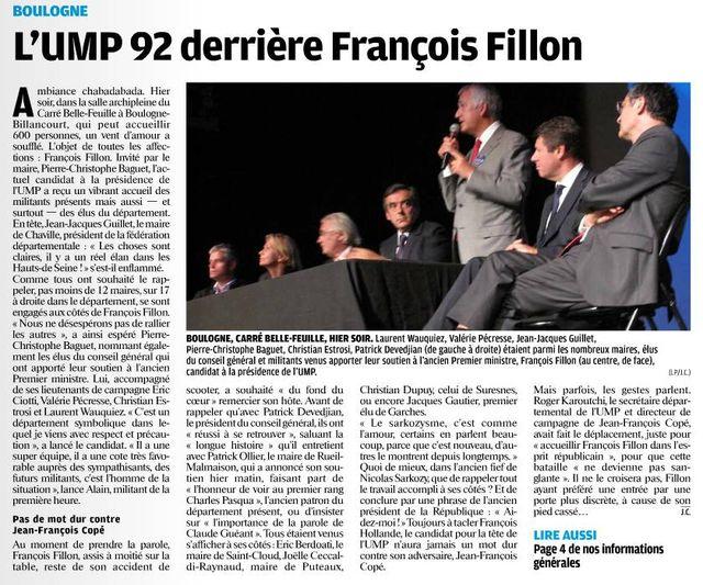 François Fillon à Boulogne-Billancourt - Lundi 17 septembre 2012 09
